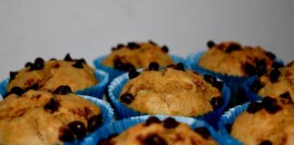 Whole Wheat Banana Muffins with chocolate chip
