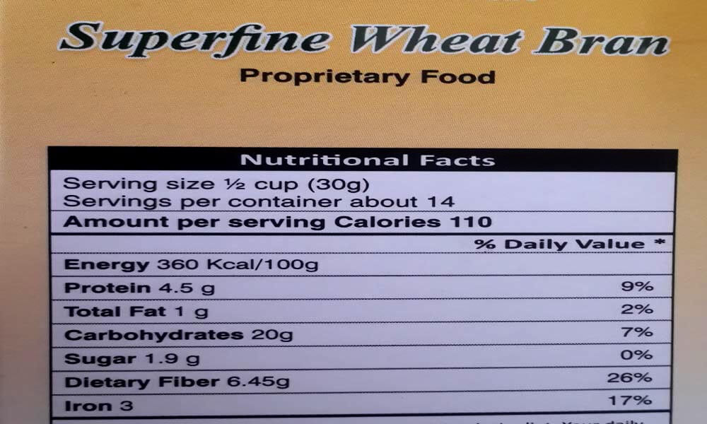 Superfine Wheat Bran Nutritional Values