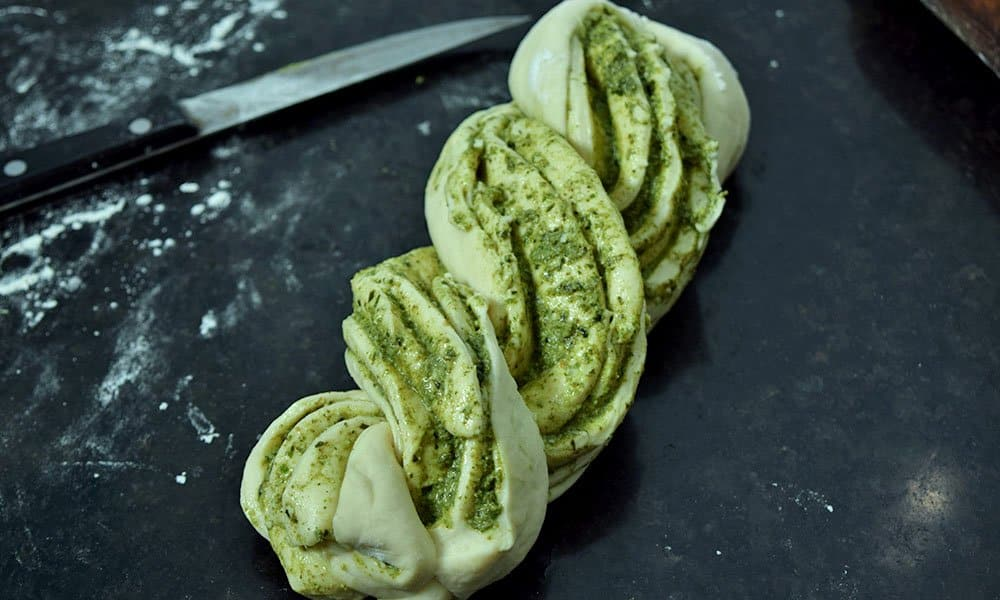 Shaping Pesto Babka Bread