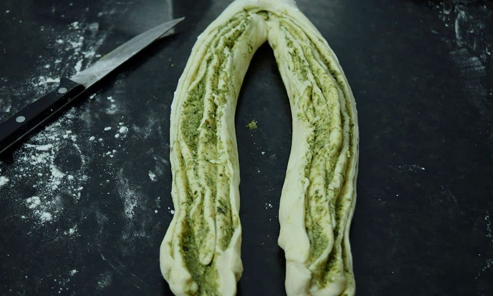 Shaping of Pesto Babka