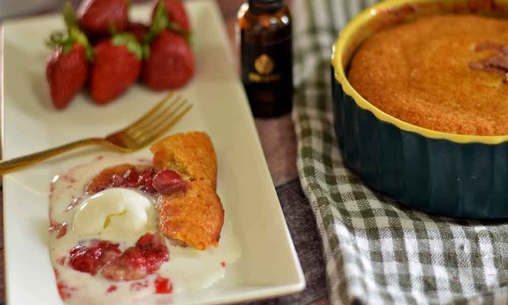 eggless strawberry cobbler