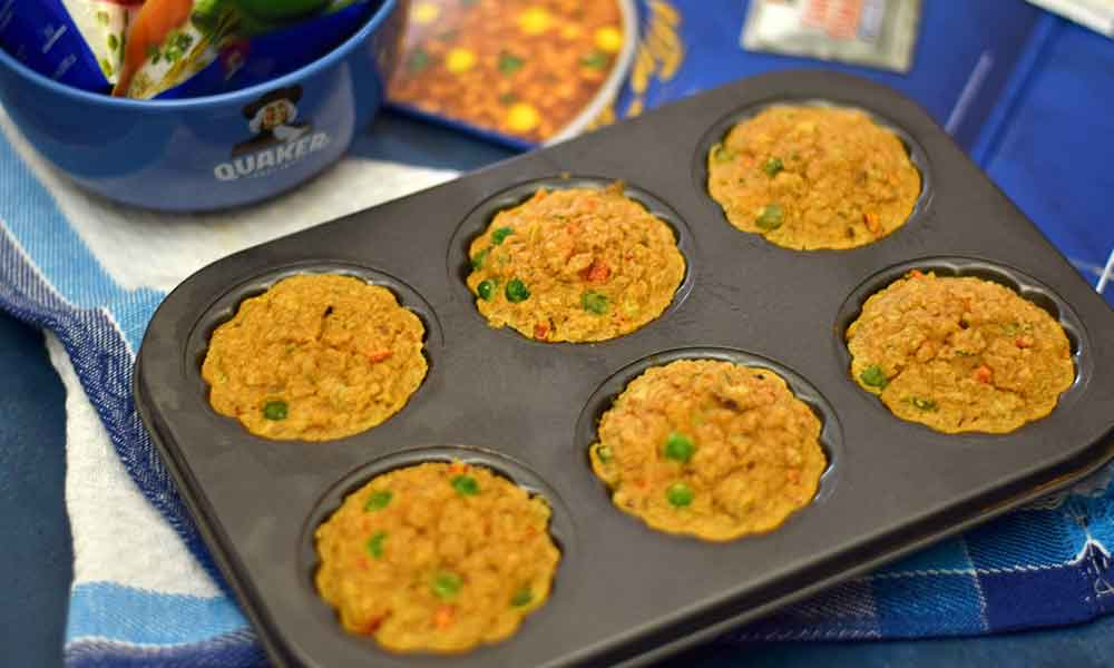 tangy oats breakfast muffins after baking